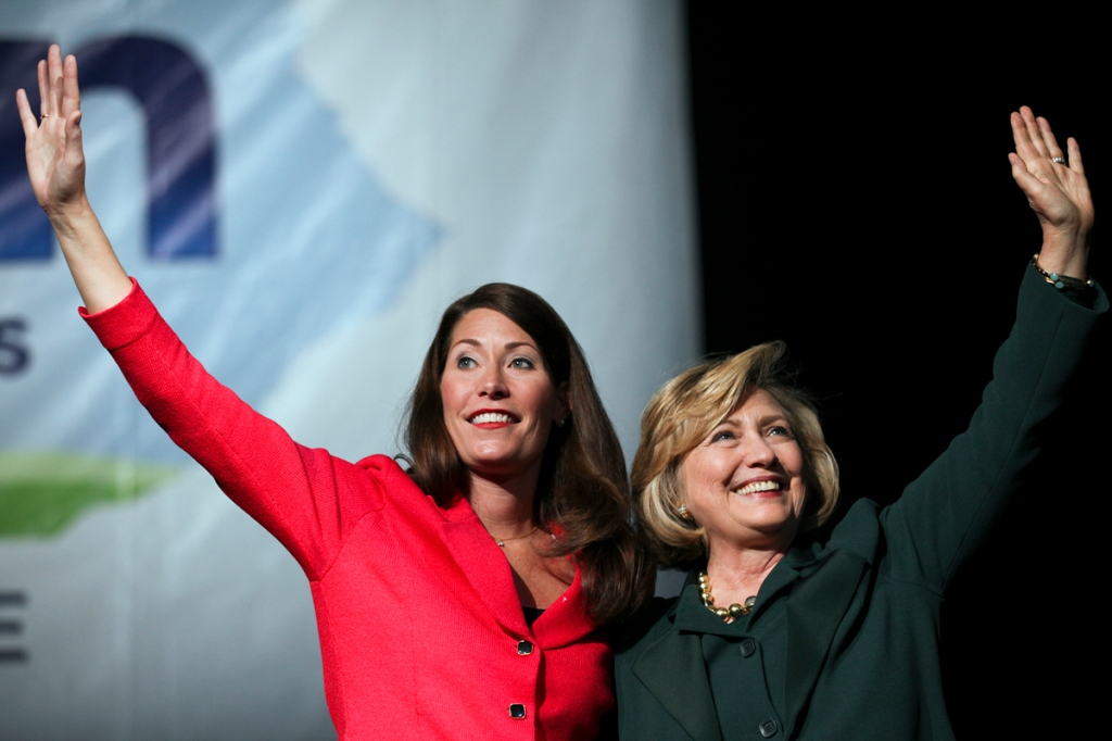 Alison Lundergan Grimes, the Democratic Senate candidate for Kentucky, greets former security of state, Hillary Clinton, at a rally for Grimes on Saturday, November 1, 2014 at Bank of Kentucky Center at Northern Kentucky University.